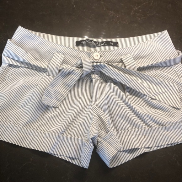 clockhouse Pants - Clockhouse striped shorts with belt